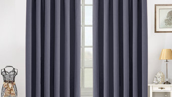 High Quality Blackout Fabric Ready Made Curtains In Black Color