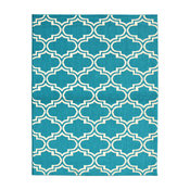 Silhouette 8'x 10' Teal and Ivory Area Rug