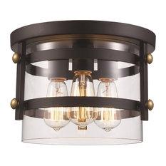 Trans Globe  Lighting, 3-Light Open Cylinder Flushmount, Rubbed Oil Bronze
