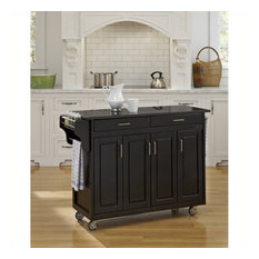 Homestyles Create-a-Cart 49 Inch Granite Top Kitchen Cart in Black