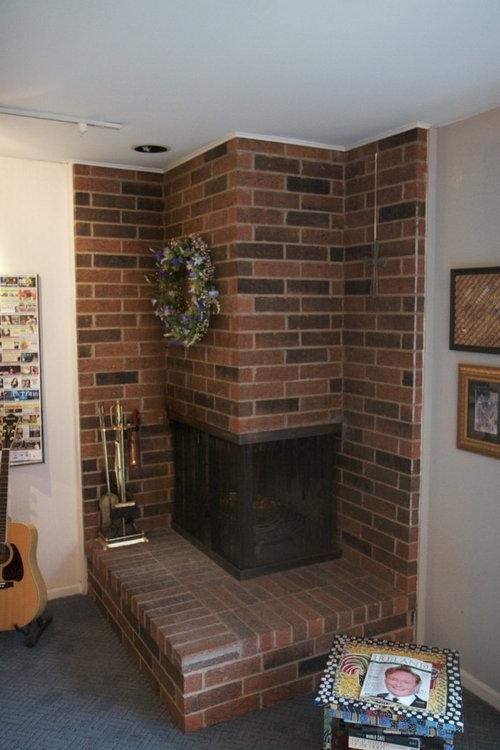 Remarkable Corner Brick Fireplace Home Interior And Landscaping Transignezvosmurscom