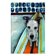 """Dog on Surfboard"" Painting Print on Canvas by Tori Campisi"
