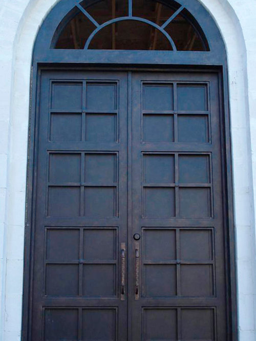 Contemporary Iron Door With Round Transom   Front Doors