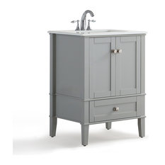 1st Avenue Kemsley Vanity Unit Gray With White Quartz Marble Top 24