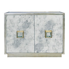 Worlds Away   Worlds Away Winslow Silver Leaf And Antique Mirror Cabinet    Accent Chests And