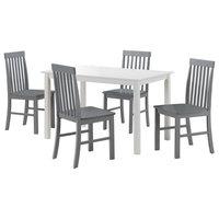 5-Piece Modern Dining Set - White/Grey