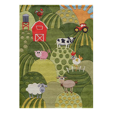 Lil Mo Whimsy Polyester, Hand-Tufted Rug, Grass, 4'x6'