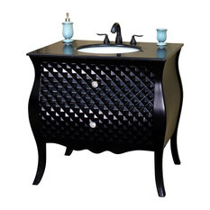 "Bellaterra 35.4"" Single Sink Vanity, Solid Wood, Black"