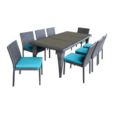 Urban Furnishing Wicker Outdoor Patio Dining Set, 9-Piece, Sea Blue