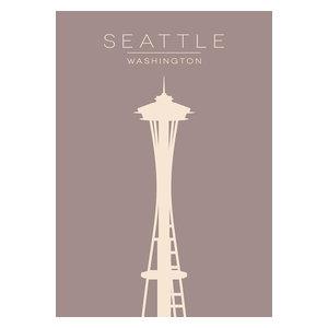 Minimalist Seattle Space Needle Print, A4