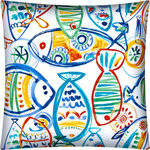 Joita, llc - Schooling Fish Yellow Indoor/Outdoor Pillow, Sewn Closure - Schooling Fish (yellow) is a delightful conglomeration of various contemporary fish swimming in every direction! Colors consist of bright red, yellow, orange, blues, teal and turquoise on a clean white background. Constructed with an outdoor rated zipper, thread and fabric. Printed pattern on polyester fabric. To maintain the life of the pillow, bring indoors or protect from the elements when not in use. Spot clean, hang to dry. Do not dry clean. One complete pillow with stuffing and sewn closure.