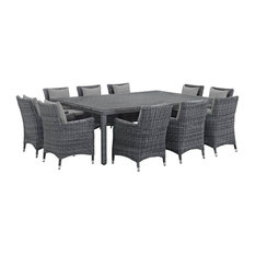 11-Piece Outdoor Dining Set, Canvas and Gray