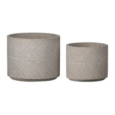 Urban Trends Collection UTC59807 Cement Round Pots, Natural, Gray, 2-Piece Set