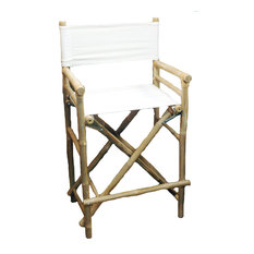 Chair Bamboo Director High Chair, Set of 2, White