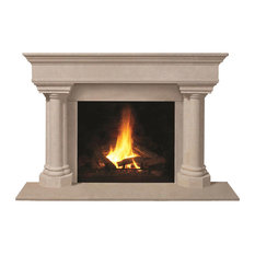 Fireplace Stone Mantel 1110.555 With Filler Panels, Buff, With Hearth Pad
