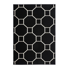 Lina Patterned Area Rug, Black and Ivory, 160x230 cm