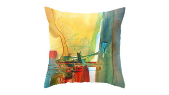 Abstract Watercolor Throw Pillow Cover, 24x24, Without Insert