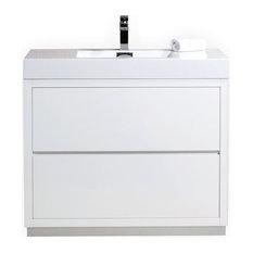 Bliss 40-inch High Gloss White Free Standing Modern Bathroom Vanity