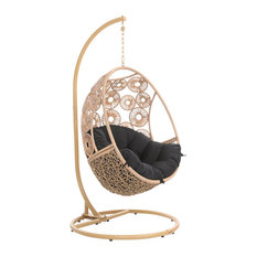 Modern Outdoor Patio Bay Swing Chair with Stand - Tan Basket Black Cushion