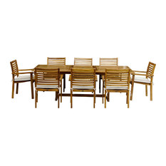 9-Piece Teak Wood Italy Table/Chair Set With Cushions