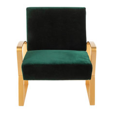 LumiSource Henley Lounge Chair, Gold Metal with Emerald Green Velvet