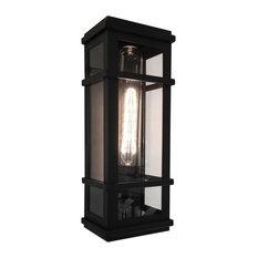 Granger Square 1-Light Black Outdoor Wall Light, Black