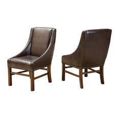 GDF Studio Claudia Fabric Dining Chairs, Brown Leather, Set of 2