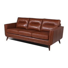 Bowery Hill Mid-Century Leather Sofa in Camel Brown