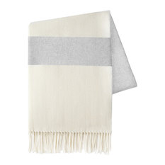 Sydney Stripe Herringbone Throws, Light Gray