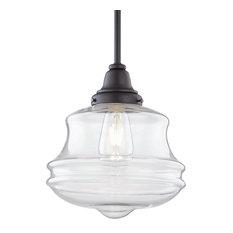 Salem Outdoor LED Pendant, Aged Bronze, Clear