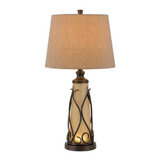 150W 3 Way Taylor Table Lamp with 1W LED, Iron Finish, Light Brown