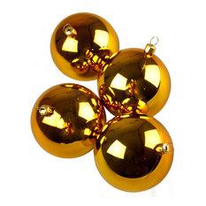 Luxury Gold Shiny Finish Shatterproof Baubles Range, Pack of 4, 100 mm