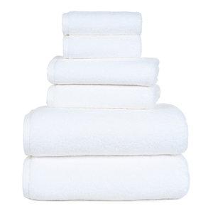 100% Cotton Zero Twist 6 Piece Towel Set by Lavish Home, White