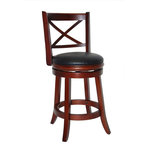 """Boraam - Georgia Swivel Stool, Cherry, 24"""" - The Georgia Swivel Stool from Boraam Industries, Inc. boasts a solid hardwood footrest. Boasting a 360-degree swivel mechanism, this piece has been designed with your comfort in mind. This stool also features a wooden backrest and a high-density foam seat cushion upholstered in shiny black bonded leather. Exuding a warm, luxurious feel, thanks to its rich colors and sumptuous textures, this stool from Boraam Industries, Inc. makes a sophisticated addition to any interior space."""
