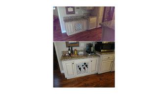 Kitchen cabinet finishing.