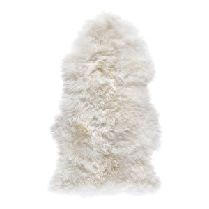 New Zealand Sheepskin Pelt Rug, 60x120 cm, Natural White