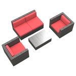 Urban Furnishing - Belize Outdoor Backyard Wicker Rattan Patio Furniture, 5-Piece Set, Coral Red - - Designer Gray Wicker Pattern