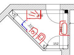 Bagno triangolare e doccia in angolo acuto help - Piatto doccia triangolare ...