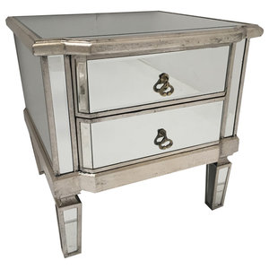 Rustic Mirrored Bedside Table