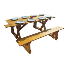 10 person outdoor dining tables houzz for 10 person picnic table