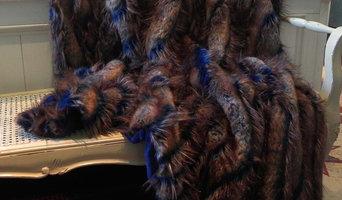 """Peacock woven faux fur blue & brown throw 52""""x70"""""""