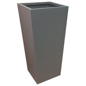 Matte Grey Flared Square Fibreglass Planter, 35x35x56 cm