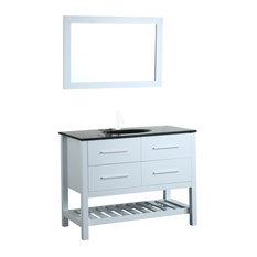 43'' Bosconi SB-250-6WHBG Single Vanity Set White, Glass Top, Integrated Sink