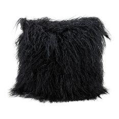 "Mina Victory Couture Fur Tibetan Sheepskin Pillow, Black, 16""x16"""