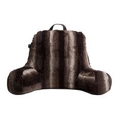 Faux Fur Reading Lounge Pillow, Brown & White Striped Chinchilla