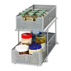 2 Tier Sliding Cabinet Basket Organizer Drawer, Silver