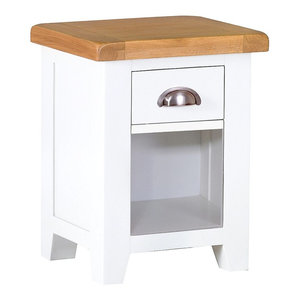 a31e5e80430f Padstow Grey Painted Oak Small 3-Drawer Bedside Table - Country ...