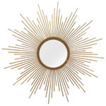 Stratton Home Decor - Stratton Home Decor Andrea Wall Mirror - Add a burst of energy to your walls with the Stratton Hand-Painted Wall Mirror. Leave it on its own to add a modern touch to a contemporary space, or pair with your favorite art prints to create an eclectic gallery wall. Crafted from solid metal with a gold finish and featuring rope-style design circling the mirror.