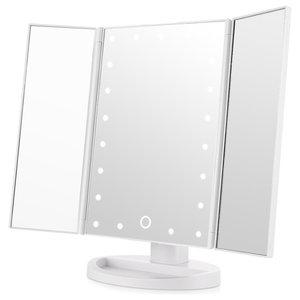White Tri-Fold Illuminated Vanity Mirror, LED Lights Touch Screen, Modern Style