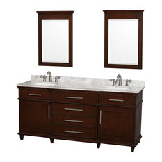 "Wyndham Collection 72"" Berkeley Dark Chestnut Double Vanity, Carrera Marble Top"